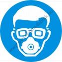 Porvédő maszk és védőszemüveg használata kötelező munkavédelmi piktogram matrica