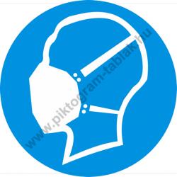 Porvédő maszk használata kötelező munkavédelmi piktogram matrica