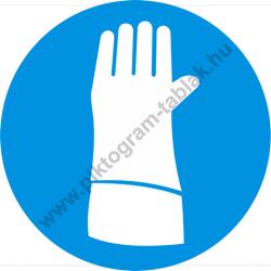 Pulzusvédő védőkesztyű használata kötelező munkavédelmi piktogram matrica