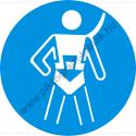 Testheveder használata kötelező munkavédelmi piktogram matrica