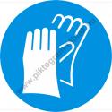 Védőkesztyű használata kötelező munkavédelmi piktogram matrica