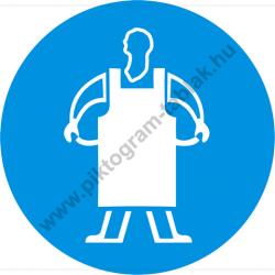 Védőkötény használata kötelező munkavédelmi piktogram matrica