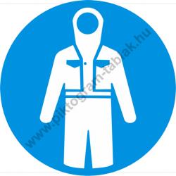 Védruha használata kötelező munkavédelmi piktogram matrica