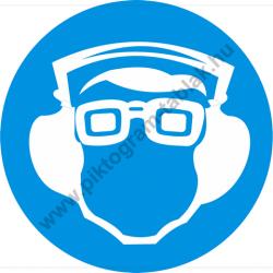 Védőszemüveg és hallásvédő használata kötelező munkavédelmi piktogram matrica