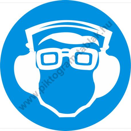 Védőszemüveg és hallásvédő használata kötelező rendelkező piktogram matrica
