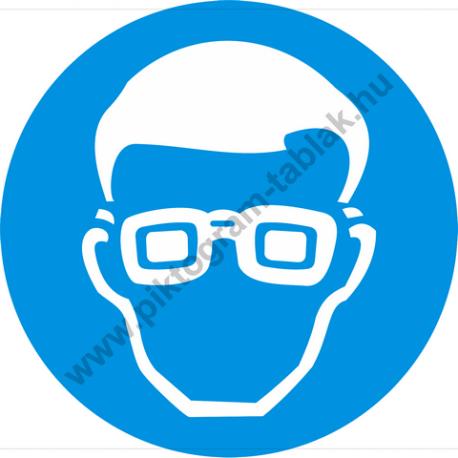Védőszemüveg használata kötelező rendelkező piktogram matrica