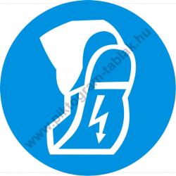 Védtalpú cipő használata kötelező munkavédelmi piktogram matrica