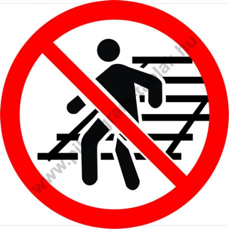 A vágányon átjárni tilos tiltó piktogram matrica