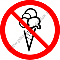 Fagylalttal belépni tilos tiltó munkavédelmi piktogram matrica