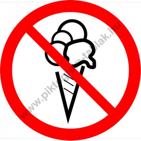 Fagylalttal belépni tilos tiltó piktogram matrica