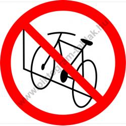 Kerékpárt a falnak támasztani tilos tiltó munkavédelmi piktogram matrica