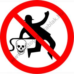Munkaruhát sűrített levegővel tisztítani tilos tiltó munkavédelmi piktogram matrica