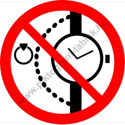 Nyaklánc, óra, gyűrű viselése tilos tiltó munkavédelmi piktogram matrica