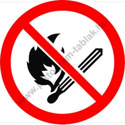 Nyílt láng használata tilos tiltó munkavédelmi piktogram matrica