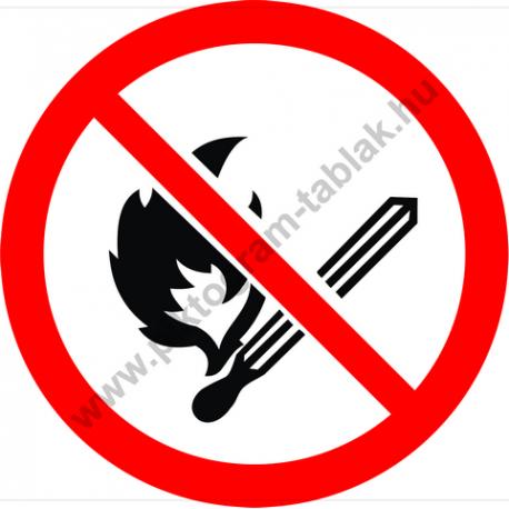 Nyílt láng használata tilos tiltó piktogram matrica