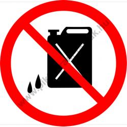 Olajos, benzines kannát bevinni tilos tiltó munkavédelmi piktogram matrica