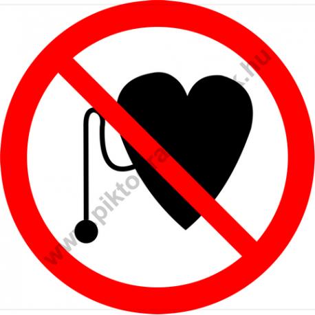 Szívritmus szabályzóval belépni tilos tiltó piktogram matrica