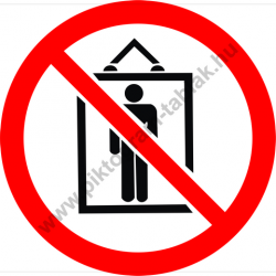 Teherfelvonó, személyszállítás tilos tiltó munkavédelmi piktogram matrica
