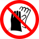 Védőkesztyű használata tilos tiltó piktogram matrica