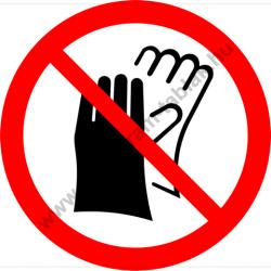 Védőkesztyű használata tilos tiltó munkavédelmi piktogram matrica