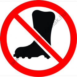 Védőlábbeli használata tilos tiltó munkavédelmi piktogram matrica