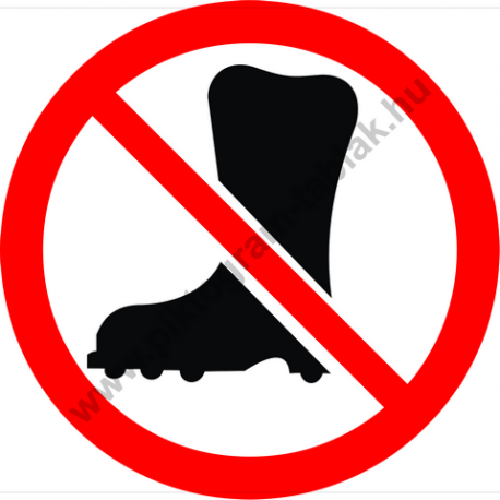 Védőlábbeli használata tilos tiltó piktogram matrica