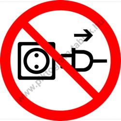 Vezetéknél fogva kihúzni tilos tiltó munkavédelmi piktogram matrica