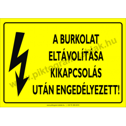 A burkolat eltávolítása kikapcsolás után engedélyezett villamossági piktogram tábla