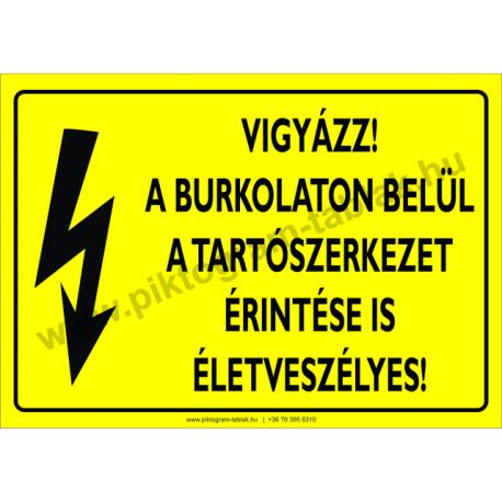 A burkolaton belül a tartószerkezet érintése is életveszélyes villamossági piktogram tábla