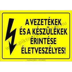 A vezetékek és a készülék érintése életveszélyes villamossági piktogram tábla