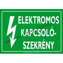 Elektromos kapcsolószekrény villamossági piktogram tábla