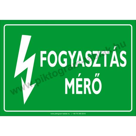 Fogyasztás mérő villamossági piktogram tábla