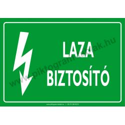 Laza biztosító villamossági piktogram tábla