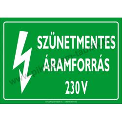 Szünetmentes áramforrás 230 V villamossági piktogram tábla