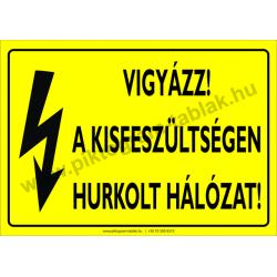 A kisfeszültség hurkolt hálózat villamossági piktogram tábla