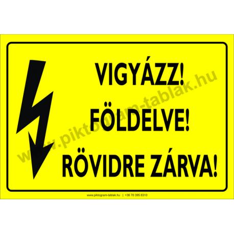 Földelve! Rövidre zárv villamossági piktogram tábla