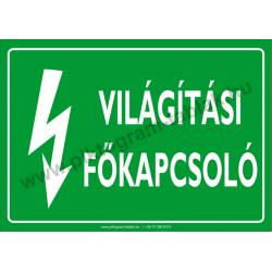 Világítási főkapcsoló villamossági piktogram tábla