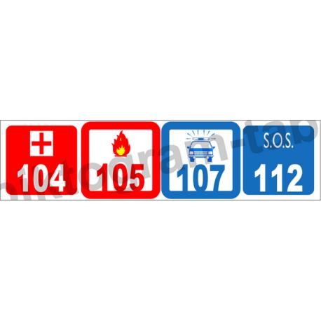 Segélykérő telefonszámok piktogram tábla