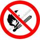 Nyílt láng használata tilos tűzvédelmi piktogram matrica