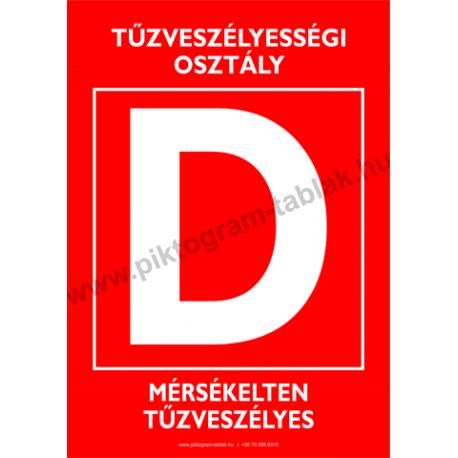 D tűzveszélyességi osztály tűzvédelmi piktogram tábla