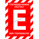 E tűzveszélyességi osztály tűzvédelmi piktogram tábla