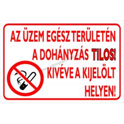 Az üzem egész területén a dohányzás tilos! Kivéve a kijelölt helyen tűzvédelmi piktogram tábla