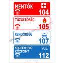 Segélyhívó telefonszámok tűzvédelmi piktogram tábla