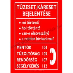 Tűzeset, káreset bejelentő tűzvédelmi piktogram tábla