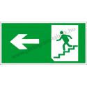 Utánvilágító menekülési út balra a lépcsőn piktogram tábla