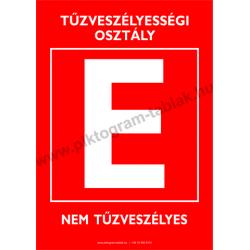 Utánvilágító A tűzveszélyességi osztály tűzvédelmi piktogram tábla
