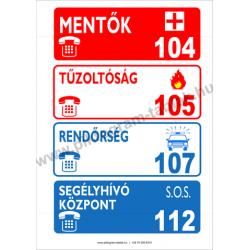 Utánvilágító Segélyhívó telefonszámok tűzvédelmi piktogram tábla