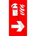 Utánvilágító tűzoltókészülék jobbra tűzvédelmi piktogram tábla