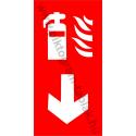 Tűzoltókészülék lefele tűzvédelmi piktogram tábla